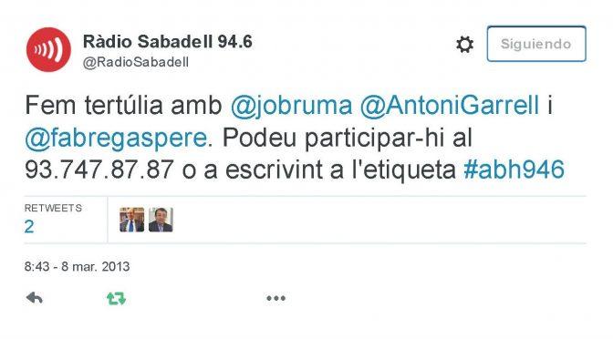 TERTÚLIA RADIO. Radio Sabadell. A Bona Hora (2013.03.08)