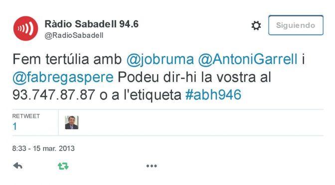 TERTÚLIA RADIO. Radio Sabadell. A Bona Hora (2013.03.15)