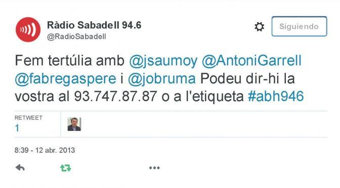TERTÚLIA RADIO. Radio Sabadell. A Bona Hora (2013.04.12)