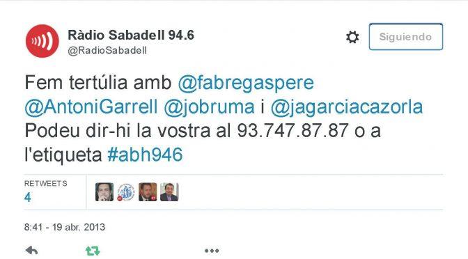 TERTÚLIA RADIO. Radio Sabadell. A Bona Hora (2013.04.19)