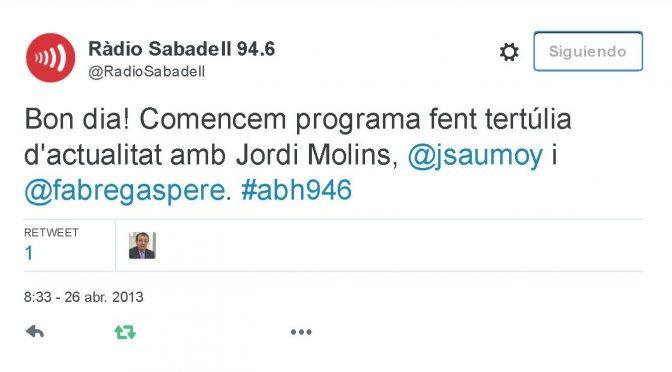 TERTÚLIA RADIO. Radio Sabadell. A Bona Hora (2013.04.26)