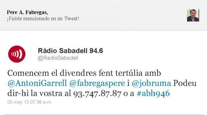 TERTÚLIA RADIO. Radio Sabadell. A Bona Hora (2013.05.03)