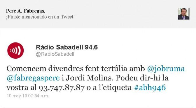 TERTÚLIA RADIO. Radio Sabadell. A Bona Hora (2013.05.10)