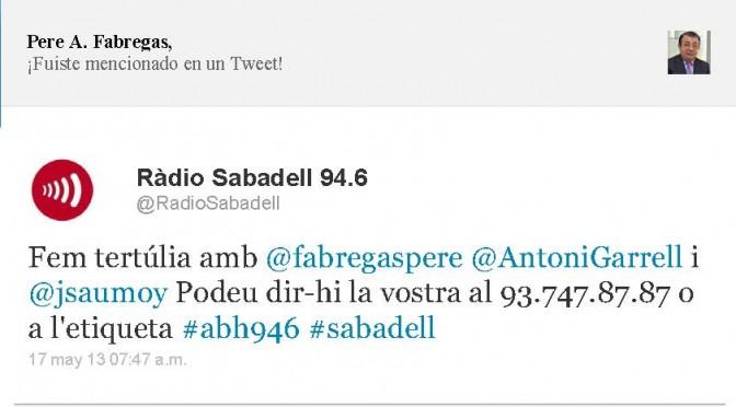 TERTÚLIA RADIO. Radio Sabadell. A Bona Hora (2013.05.17)