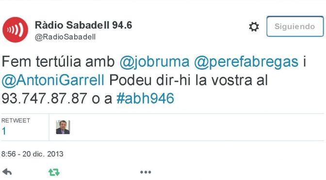 TERTÚLIA RADIO. Radio Sabadell. A Bona Hora (2013.12.20)