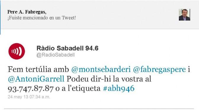 TERTÚLIA RADIO. Radio Sabadell. A Bona Hora (2013.05.24)