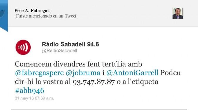 TERTÚLIA RADIO. Radio Sabadell. A Bona Hora (2013.05.31)