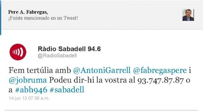 TERTÚLIA RADIO. Radio Sabadell. A Bona Hora (2013.06.14)