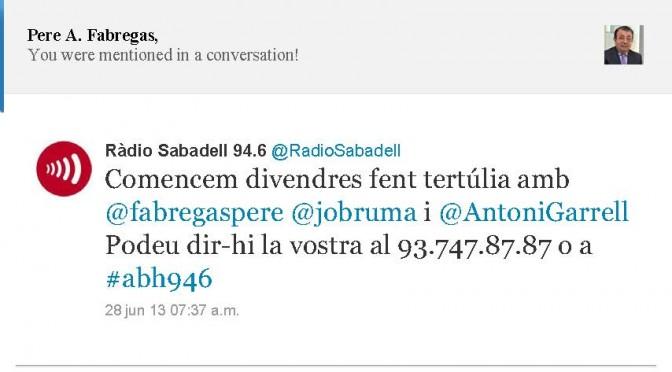 TERTÚLIA RADIO. Radio Sabadell. A Bona Hora (2013.06.28)