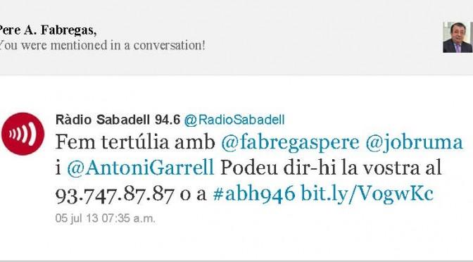 TERTÚLIA RADIO. Radio Sabadell. A Bona Hora (2013.07.05)