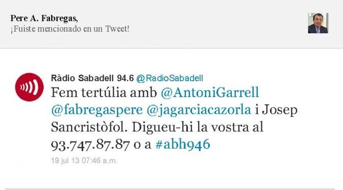 TERTÚLIA RADIO. Radio Sabadell. A Bona Hora (2013.07.19)