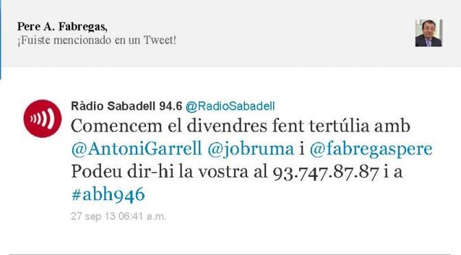 TERTÚLIA RADIO. Radio Sabadell. A Bona Hora (2013.09.27)