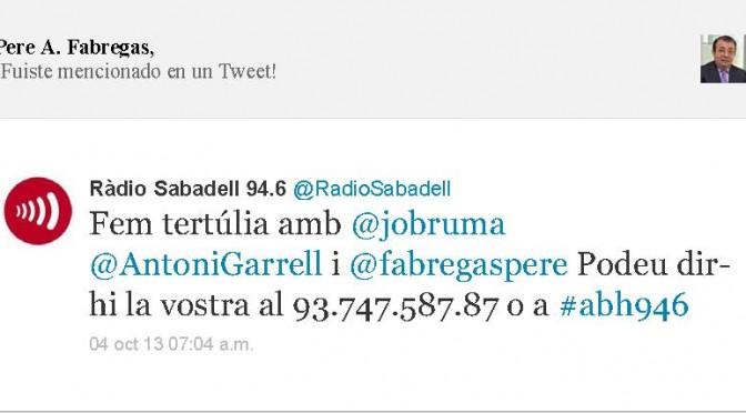 TERTÚLIA RADIO. Radio Sabadell. A Bona Hora (2013.10.04)