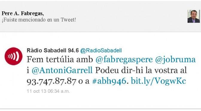 TERTÚLIA RADIO. Radio Sabadell. A Bona Hora (2013.10.11)
