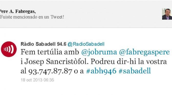 TERTÚLIA RADIO. Radio Sabadell. A Bona Hora (2013.10.18)