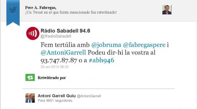 TERTÚLIA RADIO. Radio Sabadell. A Bona Hora (2013.10.25)