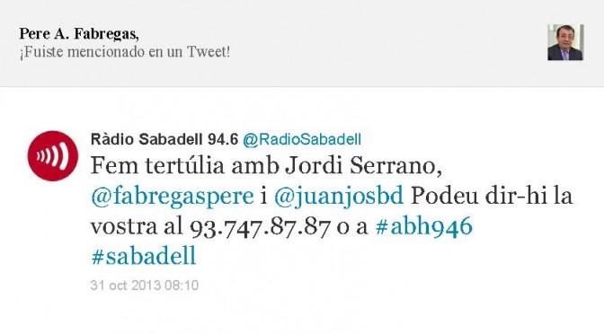TERTÚLIA RADIO. Radio Sabadell. A Bona Hora (2013.10.31)