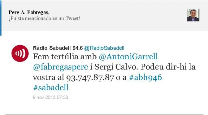 TERTÚLIA RADIO. Radio Sabadell. A Bona Hora (2013.11.08)