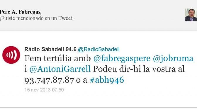 TERTÚLIA RADIO. Radio Sabadell. A Bona Hora (2013.11.15)