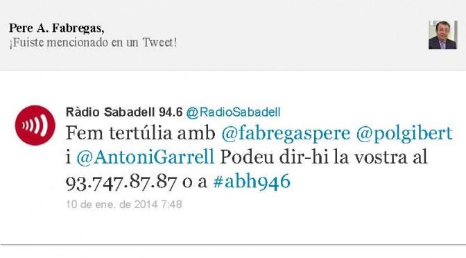 TERTÚLIA RADIO. Radio Sabadell. A Bona Hora (2014.01.10)