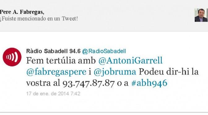 TERTÚLIA RADIO. Radio Sabadell. A Bona Hora (2014.01.17)