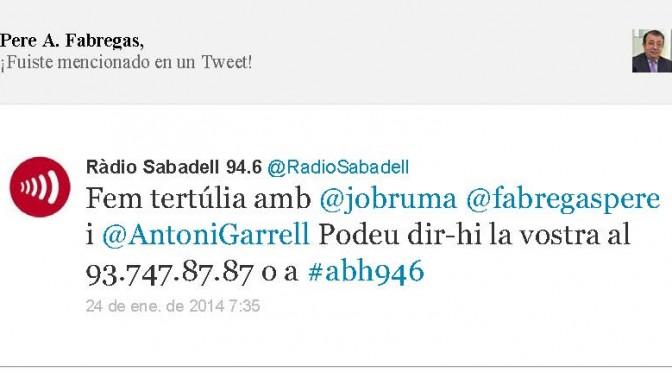 TERTÚLIA RADIO. Radio Sabadell. A Bona Hora (2014.01.24)
