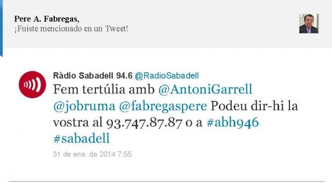 TERTÚLIA RADIO. Radio Sabadell. A Bona Hora (2014.01.31)
