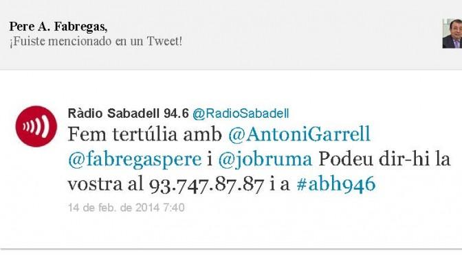 TERTÚLIA RADIO. Radio Sabadell. A Bona Hora (2014.02.14)