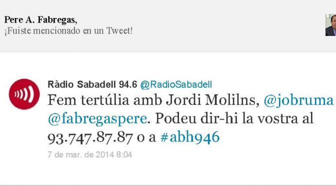 TERTÚLIA RADIO. Radio Sabadell. A Bona Hora (2014.03.07)