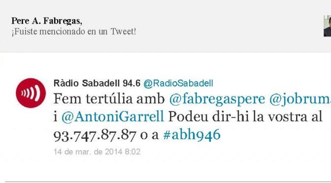 TERTÚLIA RADIO. Radio Sabadell. A Bona Hora (2014.03.14)