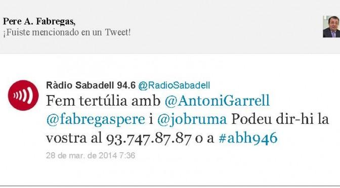 TERTÚLIA RADIO. Radio Sabadell. A Bona Hora (2014.03.28)