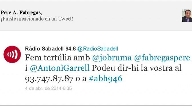 TERTÚLIA RADIO. Radio Sabadell. A Bona Hora (2014.04.04)