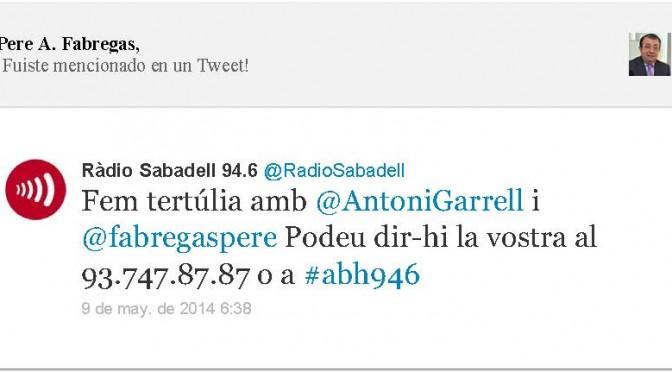 TERTÚLIA RADIO. Radio Sabadell. A Bona Hora (2014.05.09)