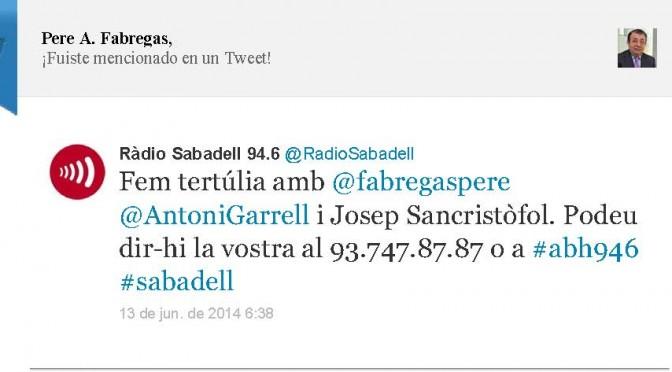 TERTÚLIA RADIO. Radio Sabadell. A Bona Hora (2014.06.13)