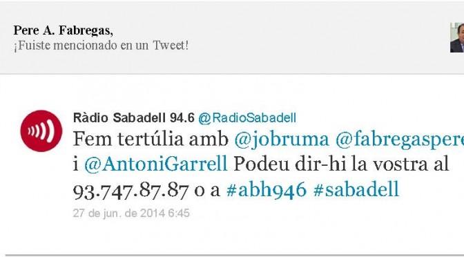 TERTÚLIA RADIO. Radio Sabadell. A Bona Hora (2014.06.27)