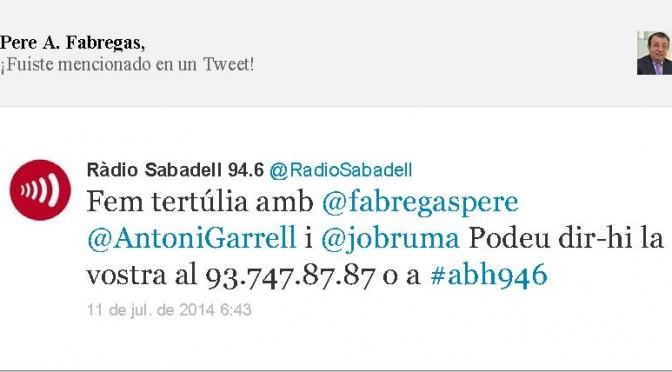TERTÚLIA RADIO. Radio Sabadell. A Bona Hora (2014.07.11)