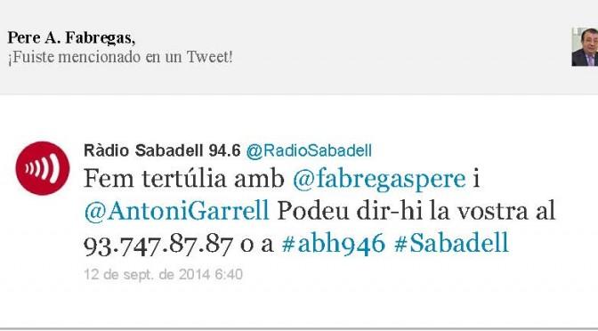 TERTÚLIA RADIO. Radio Sabadell. A Bona Hora (2014.09.12)