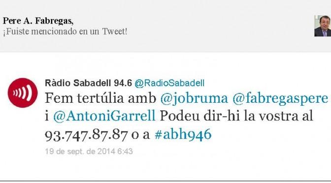 TERTÚLIA RADIO. Radio Sabadell. A Bona Hora (2014.09.19)