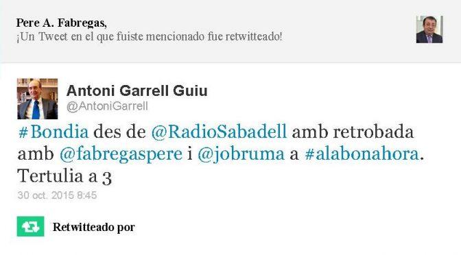 TERTÚLIA RADIO. Radio Sabadell. A Bona Hora (2015.10.30)