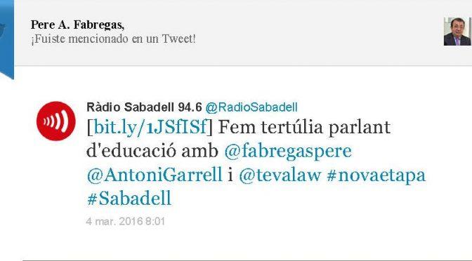TERTÚLIA RADIO. Radio Sabadell. A Bona Hora (2016.03.04)