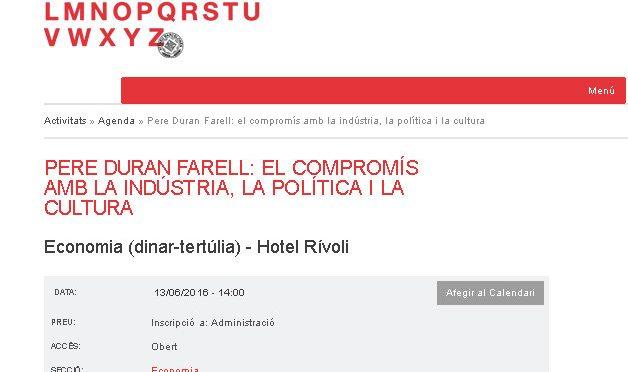 PONÈNCIA. Pere Duran Farell: el compromís amb la industria, la política, i la cultura