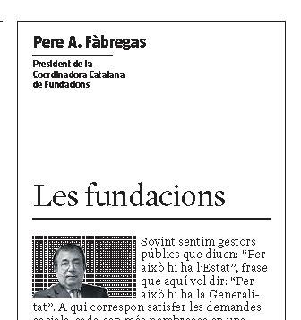 ARTICLE PREMSA. Les fundacions [La Vanguardia]