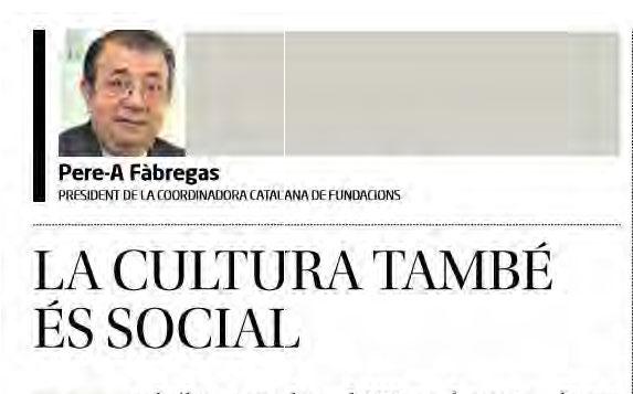 ARTICLE PREMSA. La cultura també és social [Diari de Girona]
