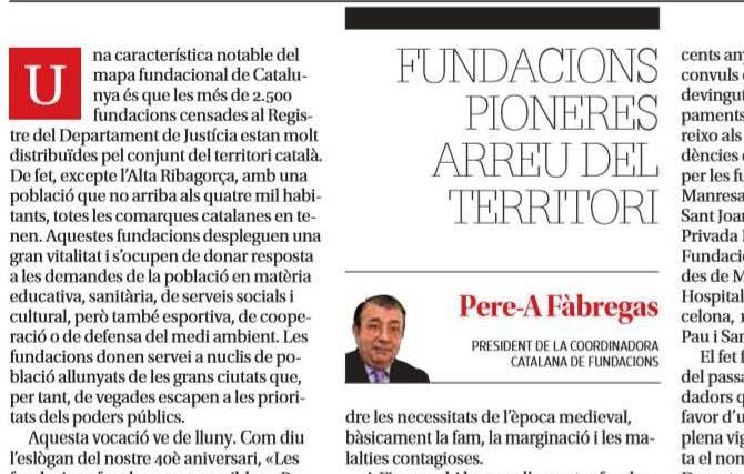 ARTICLE PREMSA. Fundacions pioneres arreu del territori [Diari de Girona]