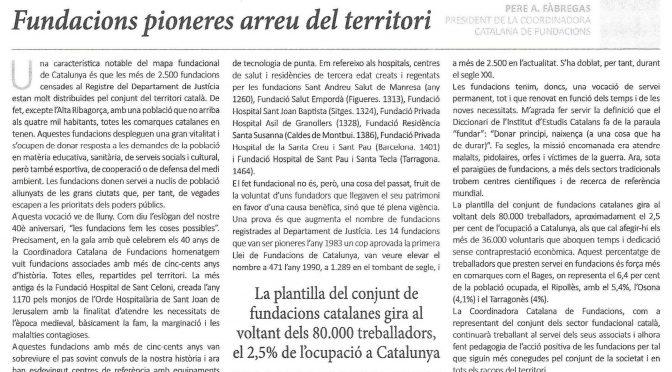 ARTICLE PREMSA. Fundacions pioneres arreu del territori [La Mañana]