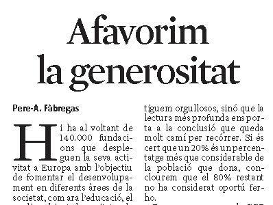 ARTICLE PREMSA. Afavorim la generositat [La Vanguardia]