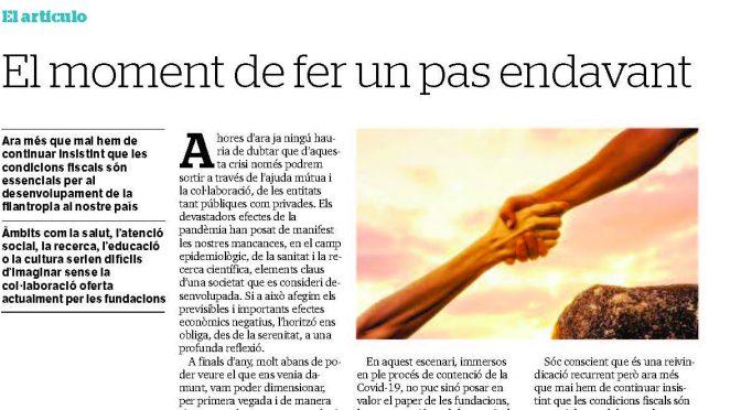 ARTICLE PREMSA. El moment de fer un pas endavant [Diari de Tarragona]